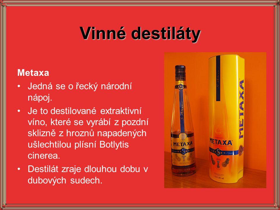 Vinné destiláty Metaxa Jedná se o řecký národní nápoj.