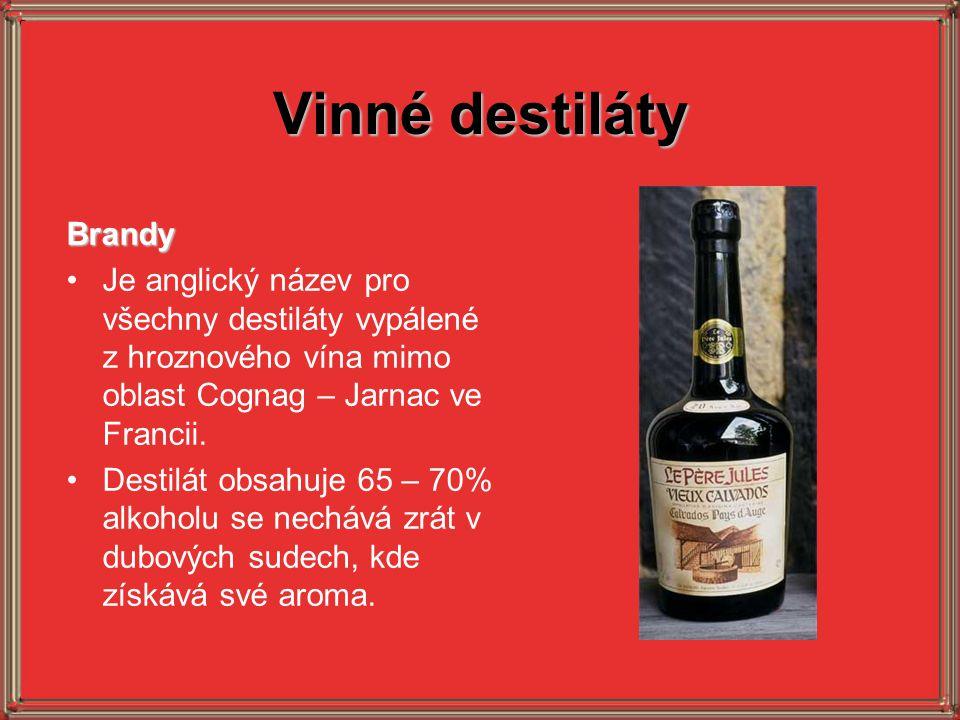 Vinné destiláty Brandy