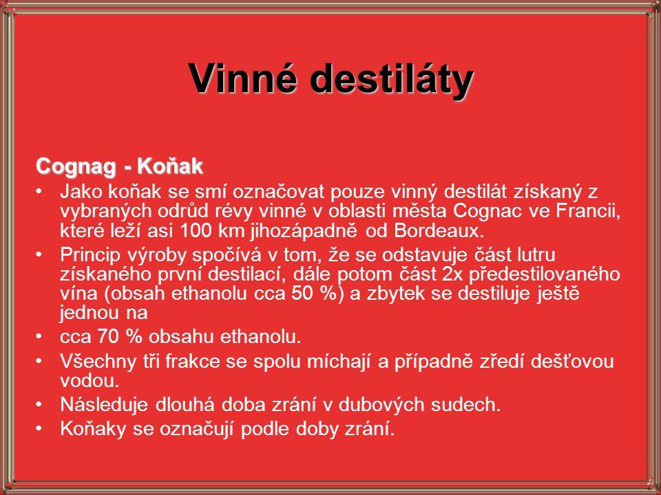 Vinné destiláty Cognag - Koňak