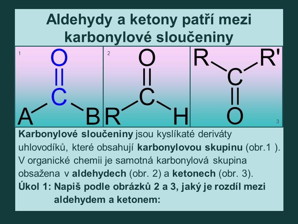 Aldehydy a ketony patří mezi karbonylové sloučeniny