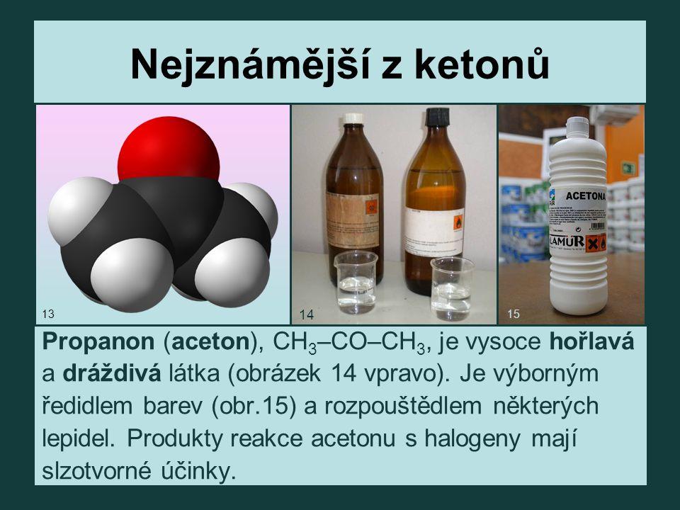 Nejznámější z ketonů Propanon (aceton), CH3–CO–CH3, je vysoce hořlavá
