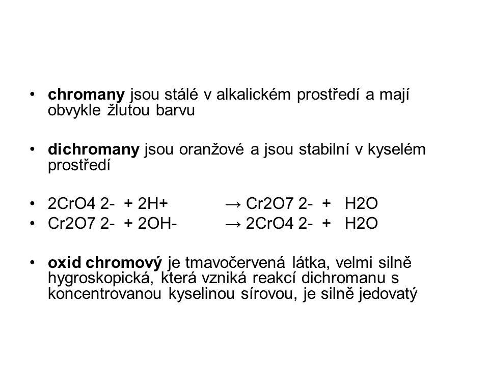 chromany jsou stálé v alkalickém prostředí a mají obvykle žlutou barvu