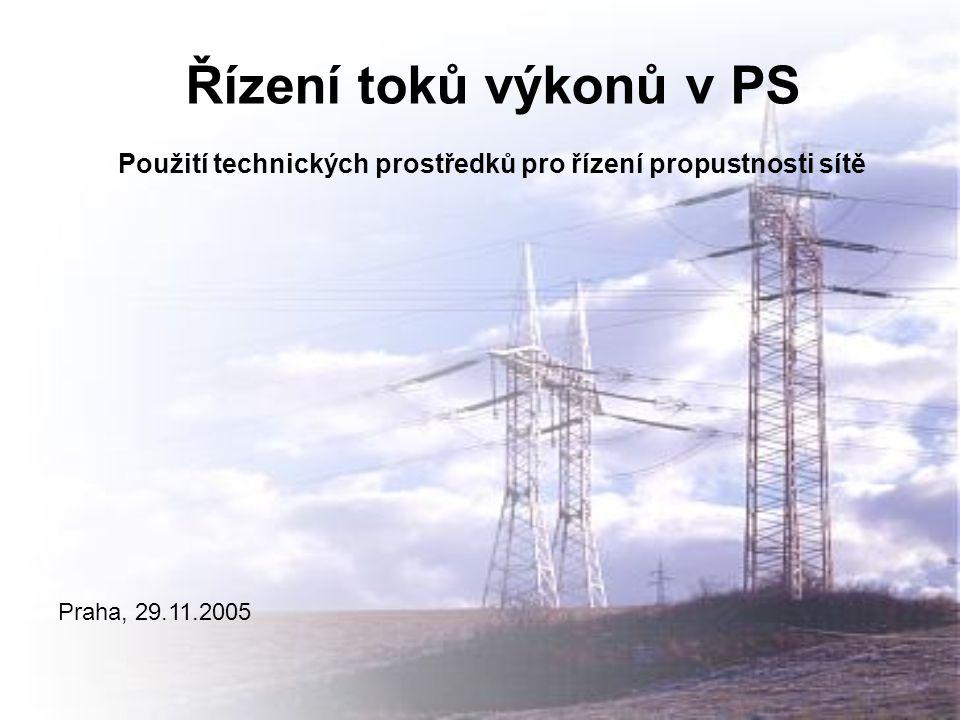 Řízení toků výkonů v PS Použití technických prostředků pro řízení propustnosti sítě