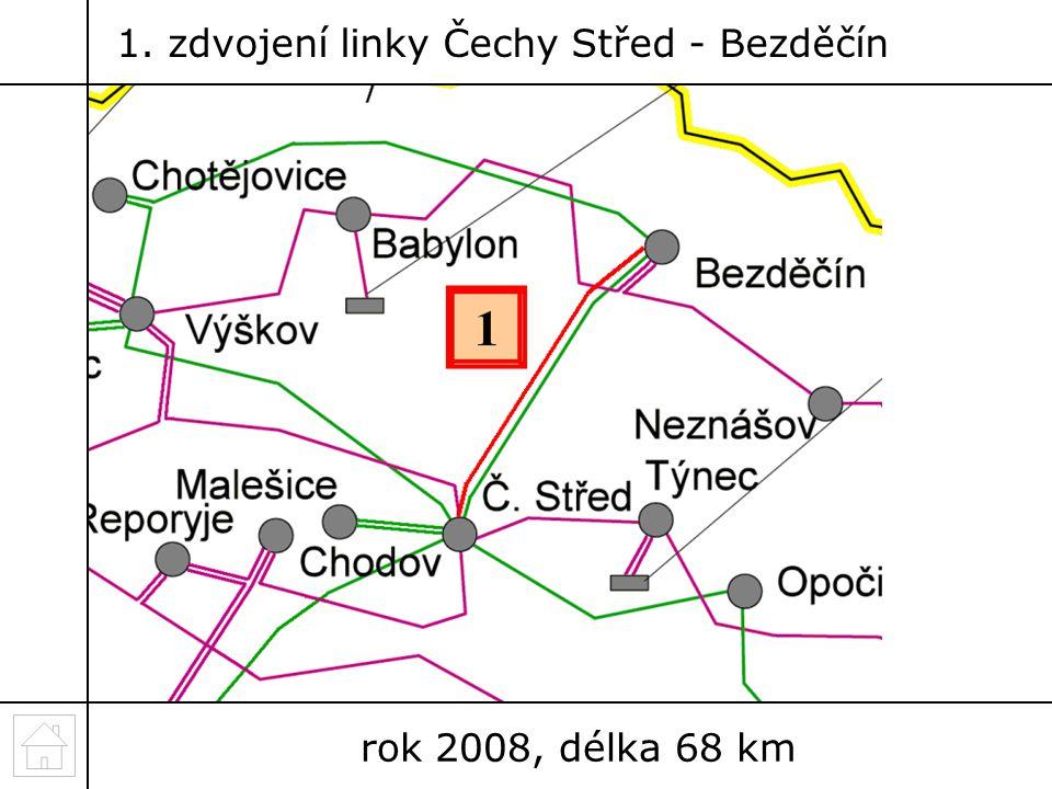 1. zdvojení linky Čechy Střed - Bezděčín