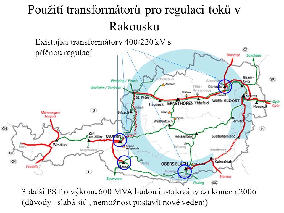 Použití transformátorů pro regulaci toků v Rakousku