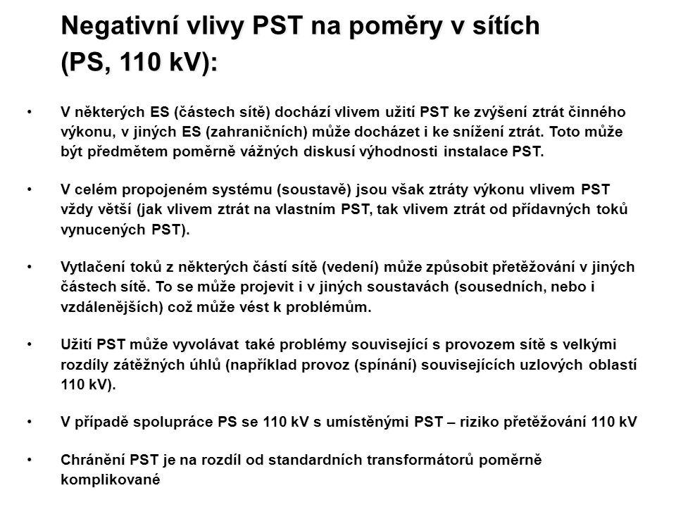 Negativní vlivy PST na poměry v sítích (PS, 110 kV):
