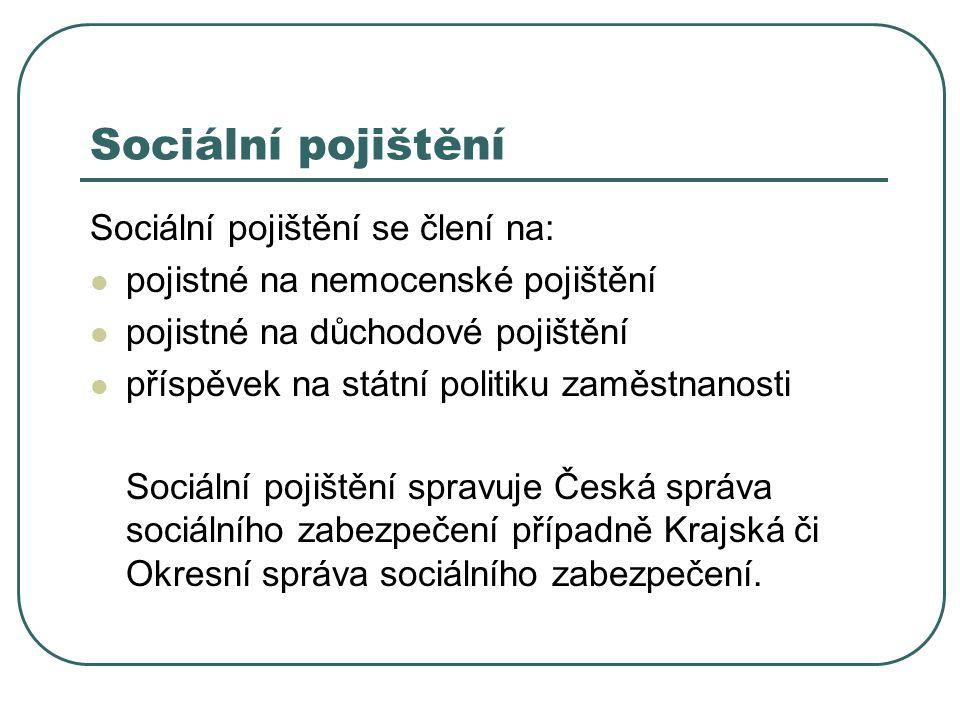Sociální pojištění Sociální pojištění se člení na:
