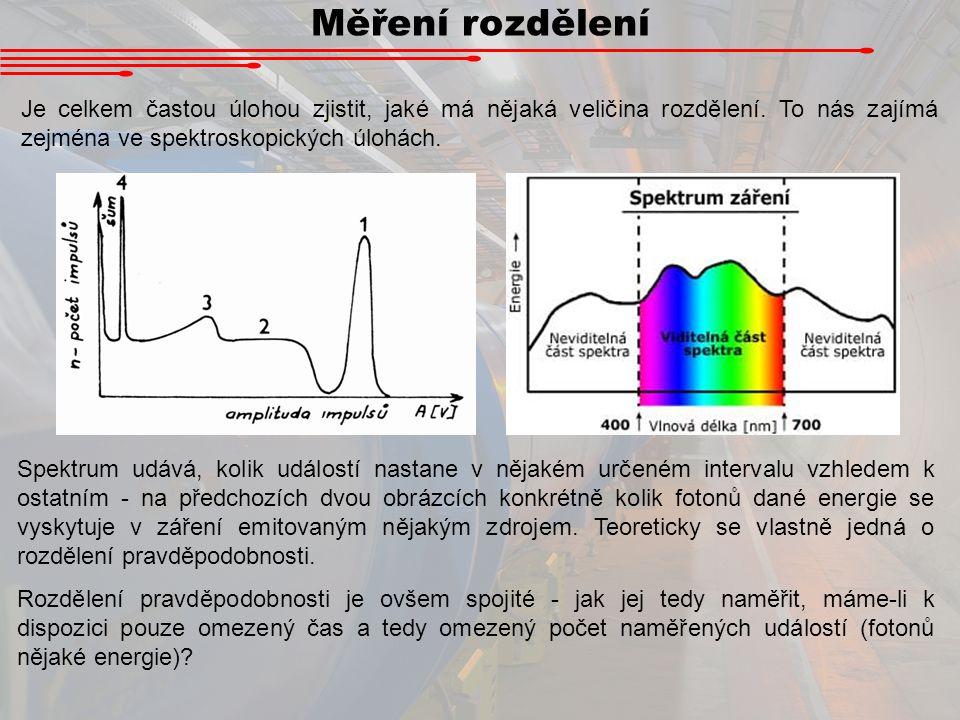 Měření rozdělení Je celkem častou úlohou zjistit, jaké má nějaká veličina rozdělení. To nás zajímá zejména ve spektroskopických úlohách.