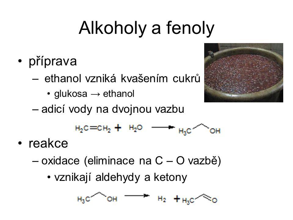 Alkoholy a fenoly příprava reakce ethanol vzniká kvašením cukrů
