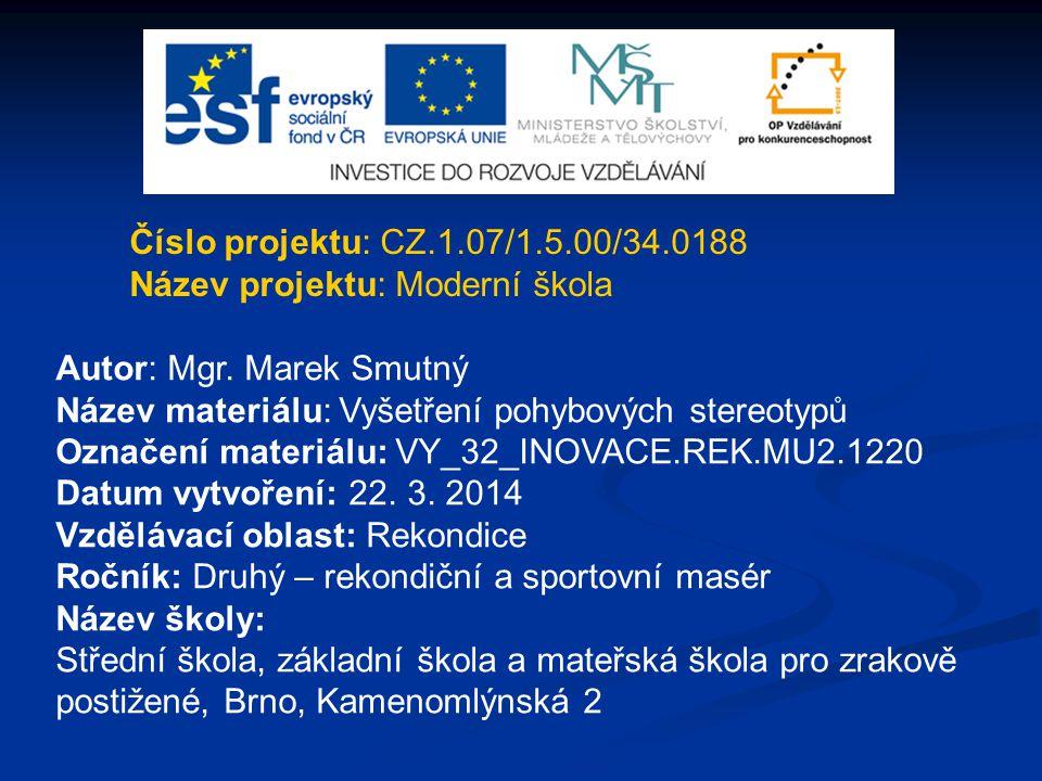 Číslo projektu: CZ.1.07/1.5.00/34.0188 Název projektu: Moderní škola. Autor: Mgr. Marek Smutný. Název materiálu: Vyšetření pohybových stereotypů.