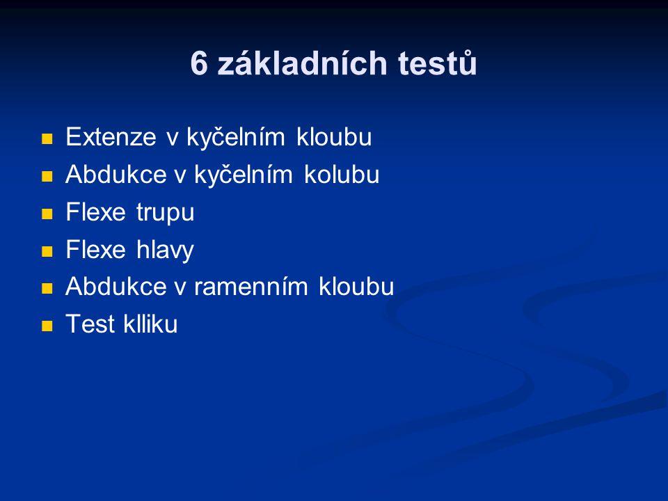 6 základních testů Extenze v kyčelním kloubu Abdukce v kyčelním kolubu