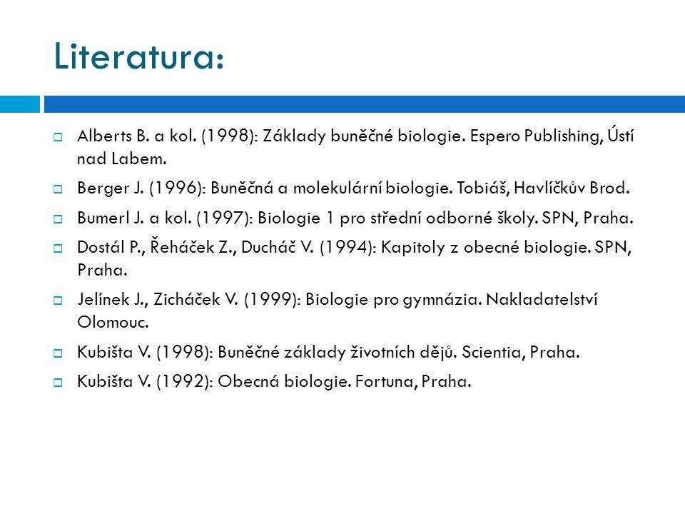 Literatura: Alberts B. a kol. (1998): Základy buněčné biologie. Espero Publishing, Ústí nad Labem.