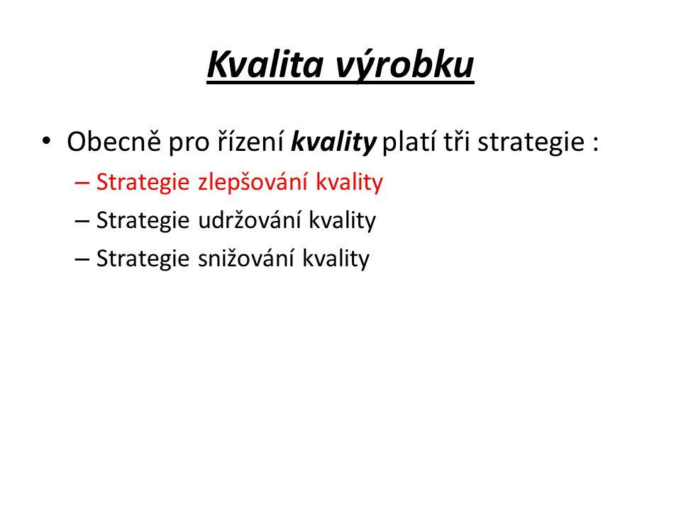 Kvalita výrobku Obecně pro řízení kvality platí tři strategie :