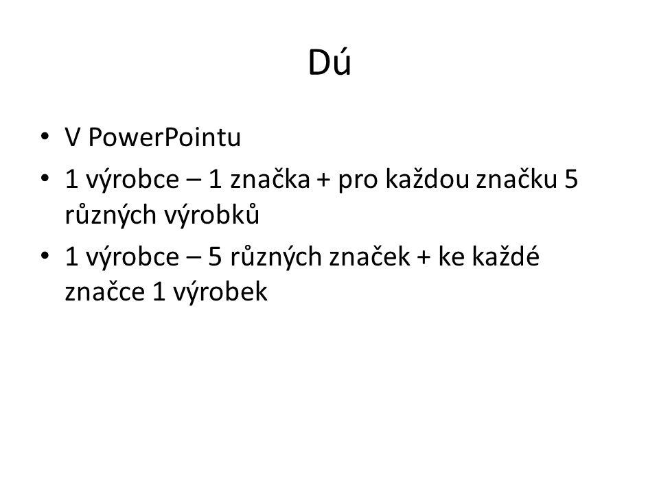 Dú V PowerPointu. 1 výrobce – 1 značka + pro každou značku 5 různých výrobků.