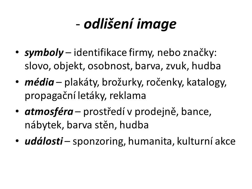 - odlišení image symboly – identifikace firmy, nebo značky: slovo, objekt, osobnost, barva, zvuk, hudba.