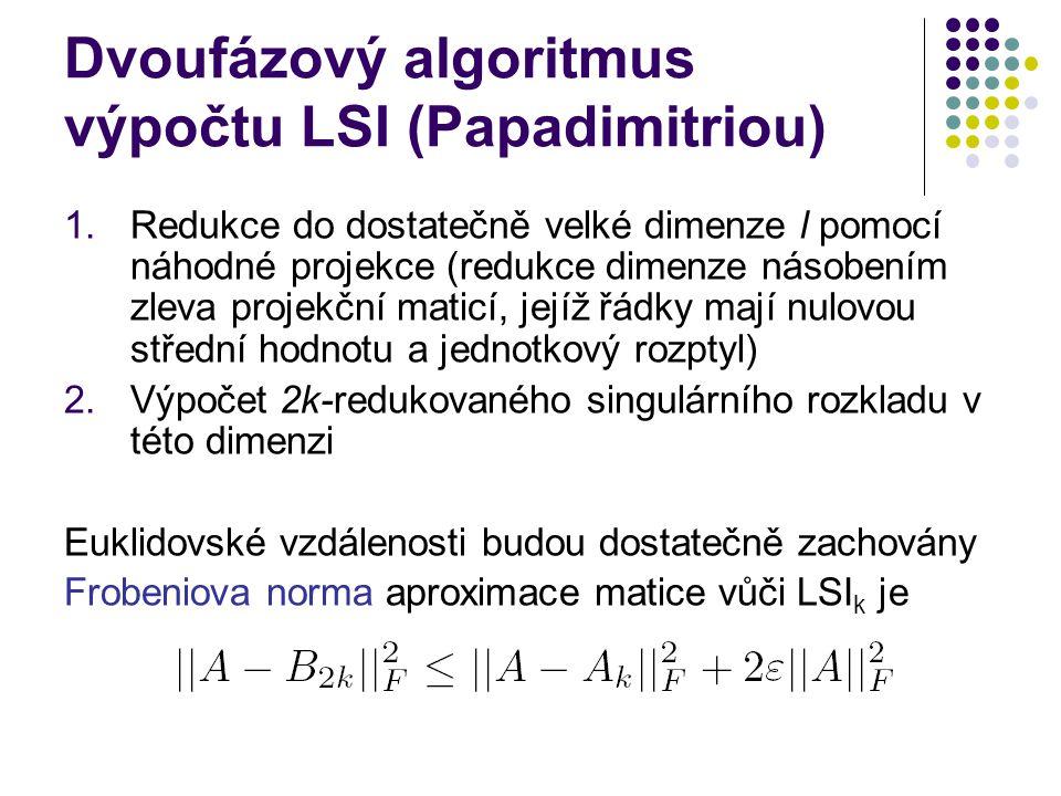 Dvoufázový algoritmus výpočtu LSI (Papadimitriou)