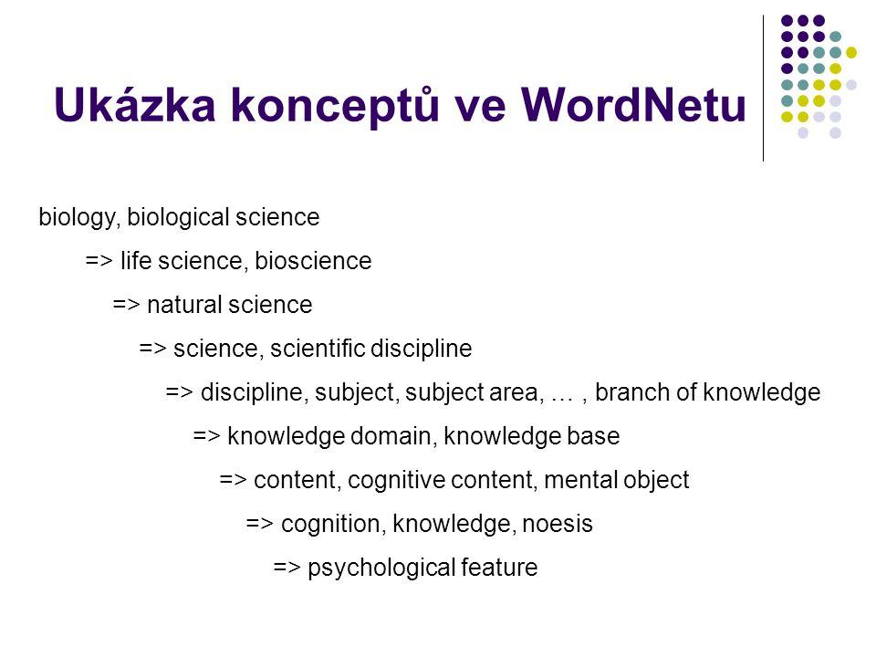 Ukázka konceptů ve WordNetu