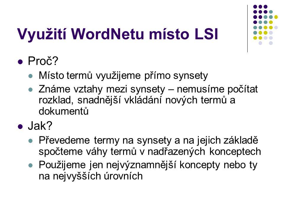 Využití WordNetu místo LSI
