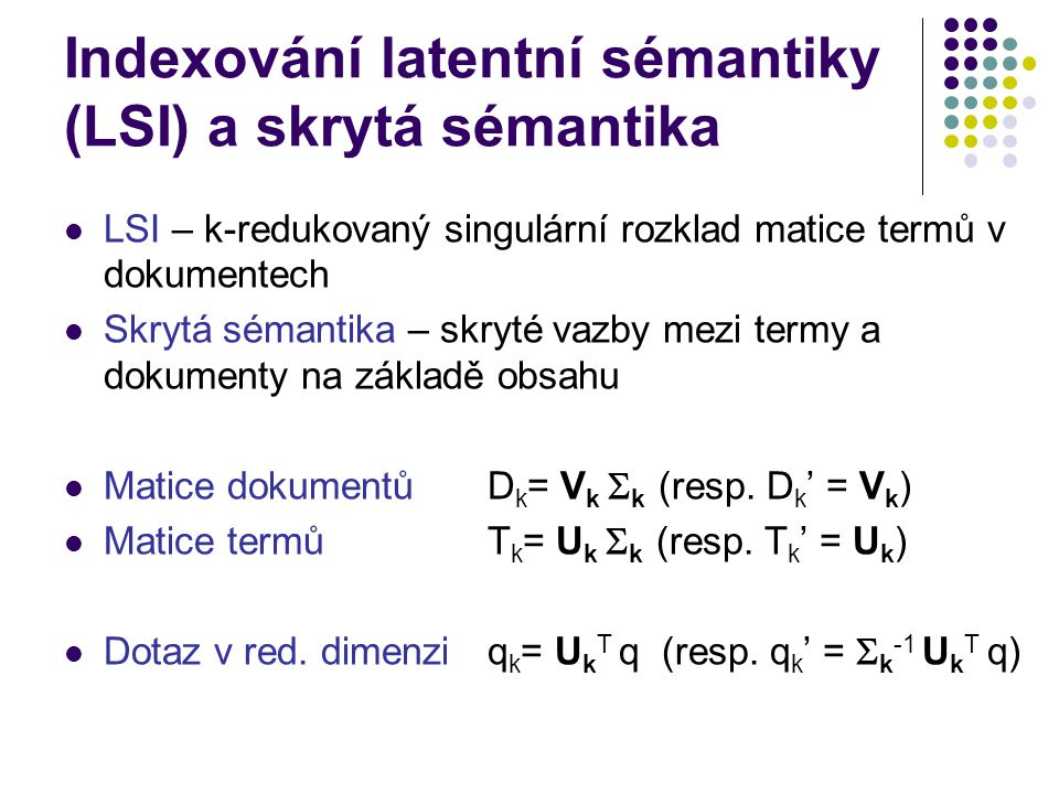 Indexování latentní sémantiky (LSI) a skrytá sémantika