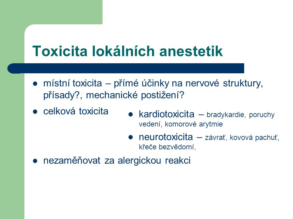 Toxicita lokálních anestetik
