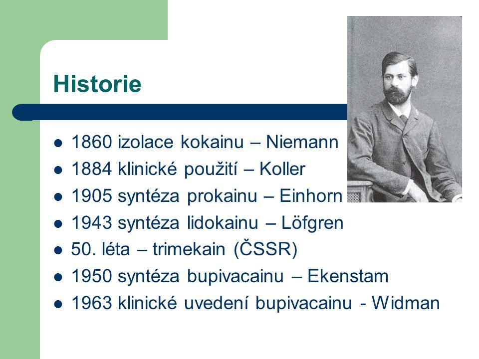 Historie 1860 izolace kokainu – Niemann 1884 klinické použití – Koller