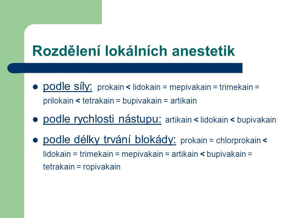 Rozdělení lokálních anestetik
