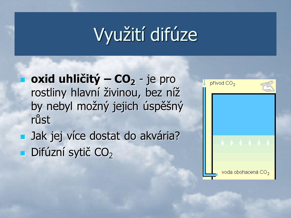 Využití difúze oxid uhličitý – CO2 - je pro rostliny hlavní živinou, bez níž by nebyl možný jejich úspěšný růst.