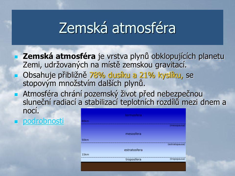 Zemská atmosféra Zemská atmosféra je vrstva plynů obklopujících planetu Zemi, udržovaných na místě zemskou gravitací.