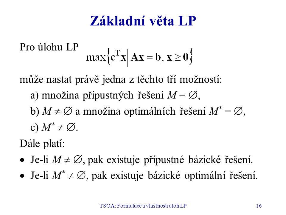TSOA: Formulace a vlastnosti úloh LP