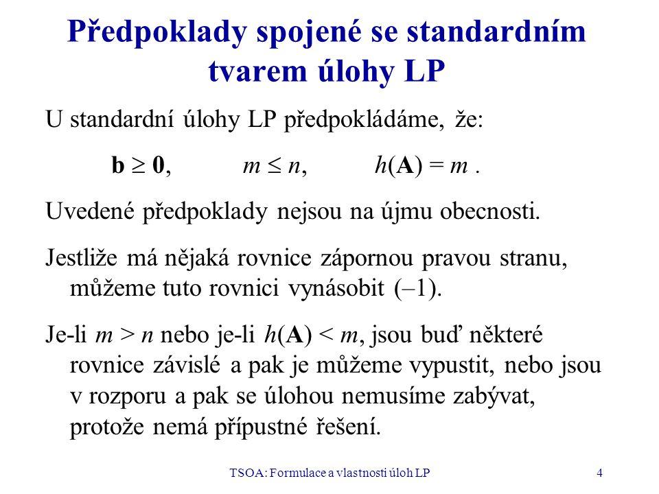 Předpoklady spojené se standardním tvarem úlohy LP