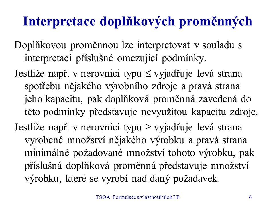 Interpretace doplňkových proměnných