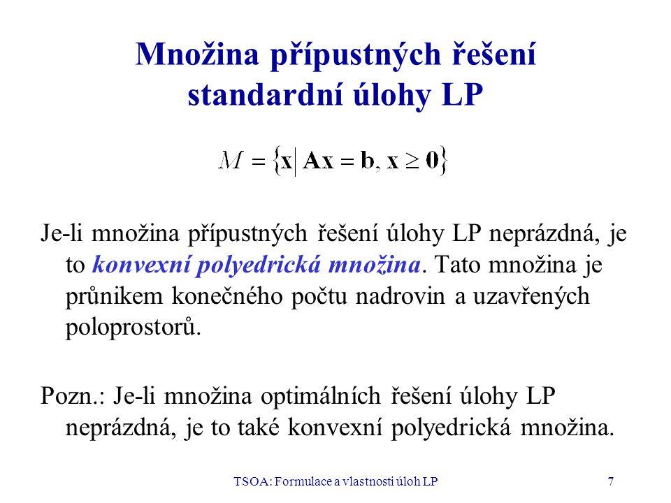 Množina přípustných řešení standardní úlohy LP