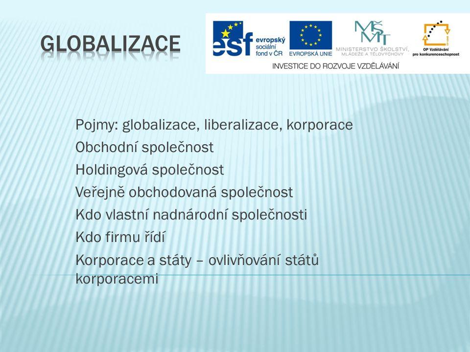 Globalizace Pojmy: globalizace, liberalizace, korporace