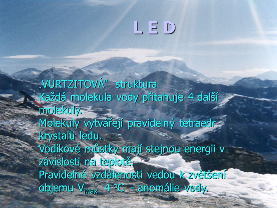 L E D Každá molekula vody přitahuje 4 další molekuly.