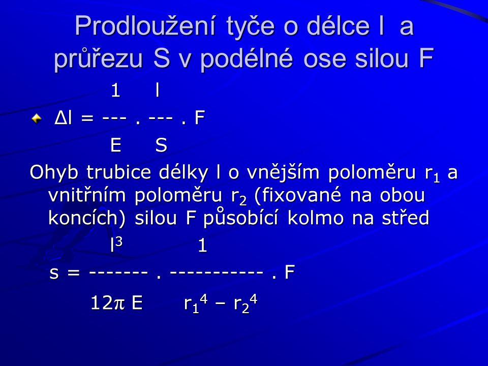 Prodloužení tyče o délce l a průřezu S v podélné ose silou F