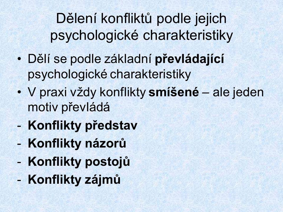 Dělení konfliktů podle jejich psychologické charakteristiky