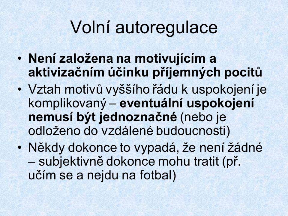 Volní autoregulace Není založena na motivujícím a aktivizačním účinku příjemných pocitů.