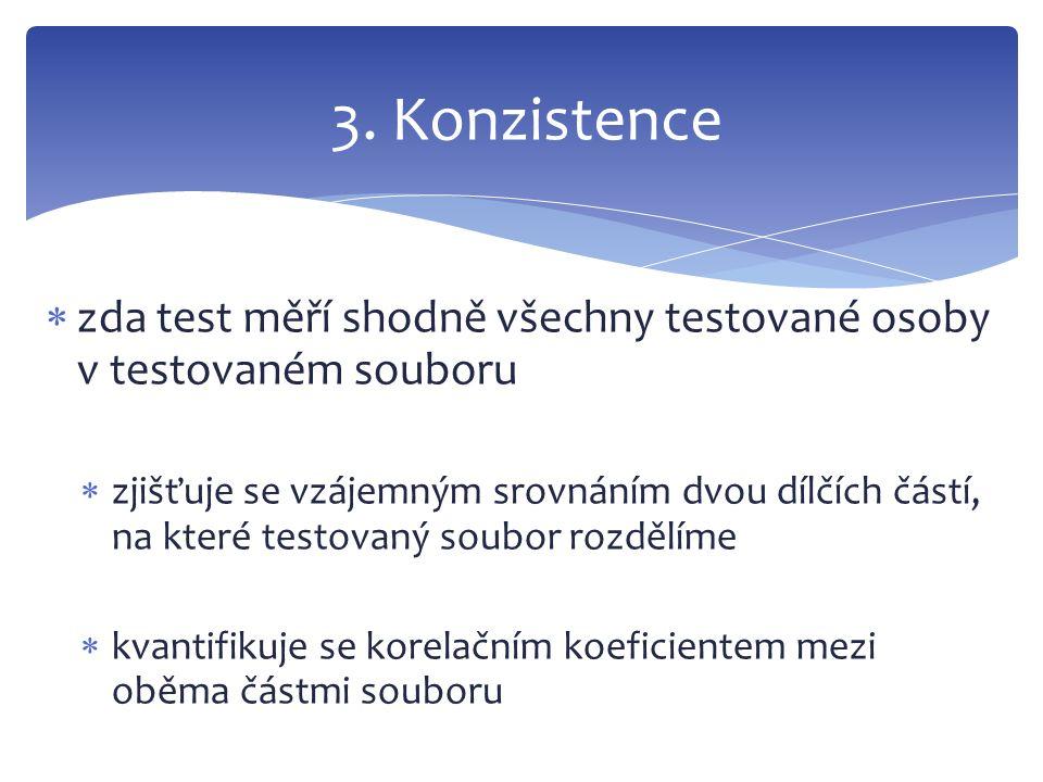 3. Konzistence zda test měří shodně všechny testované osoby v testovaném souboru.