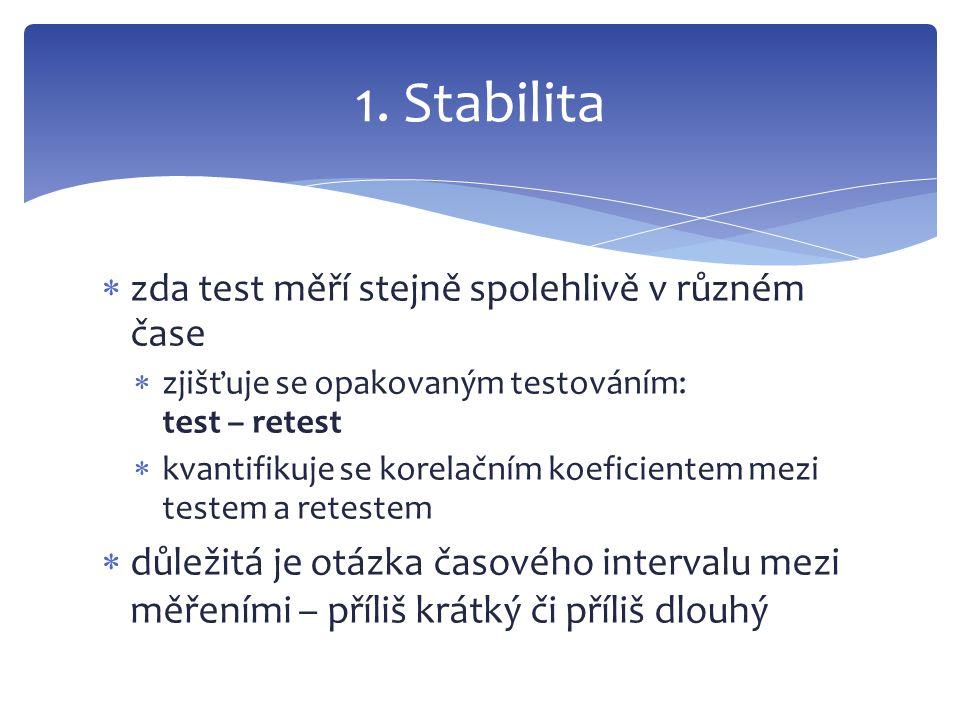 1. Stabilita zda test měří stejně spolehlivě v různém čase
