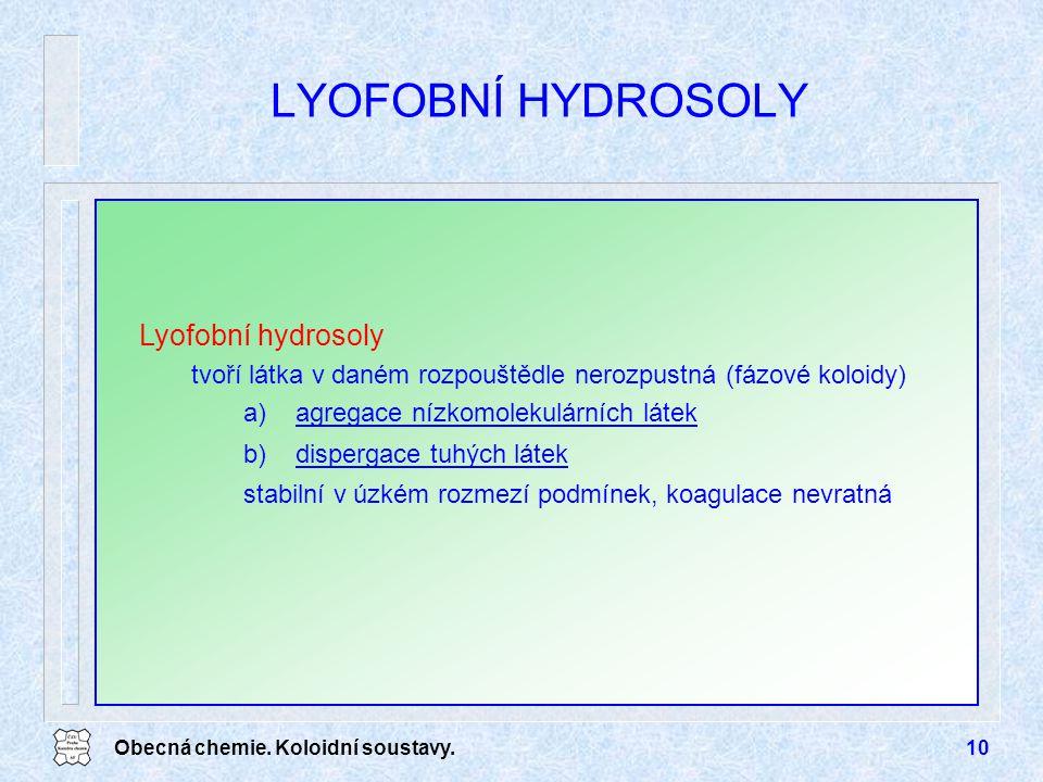 LYOFOBNÍ HYDROSOLY Lyofobní hydrosoly