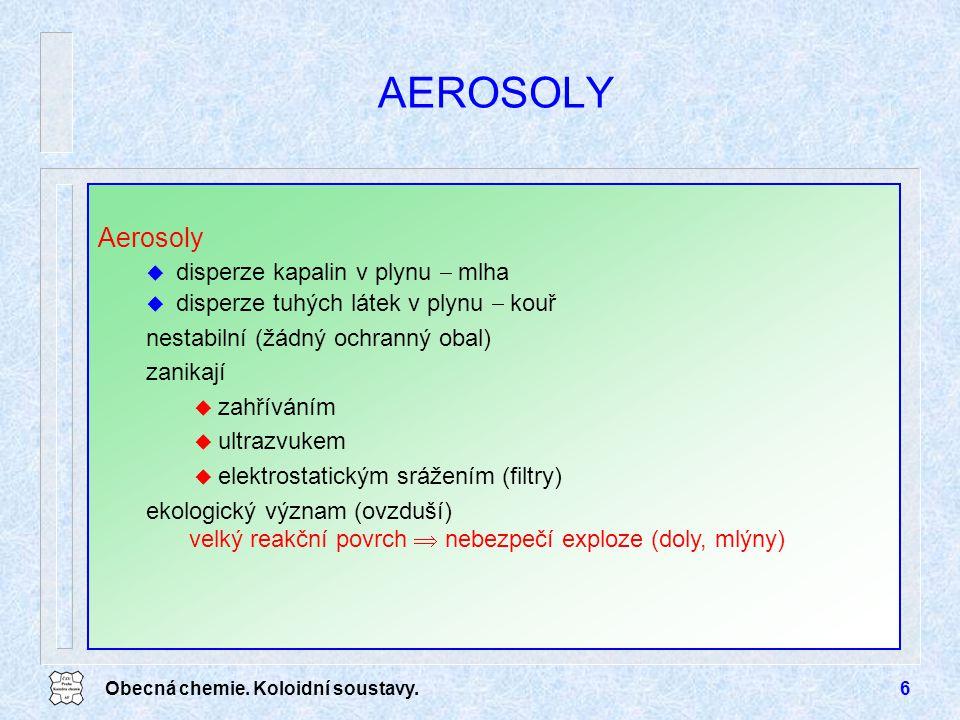 AEROSOLY Aerosoly disperze kapalin v plynu  mlha