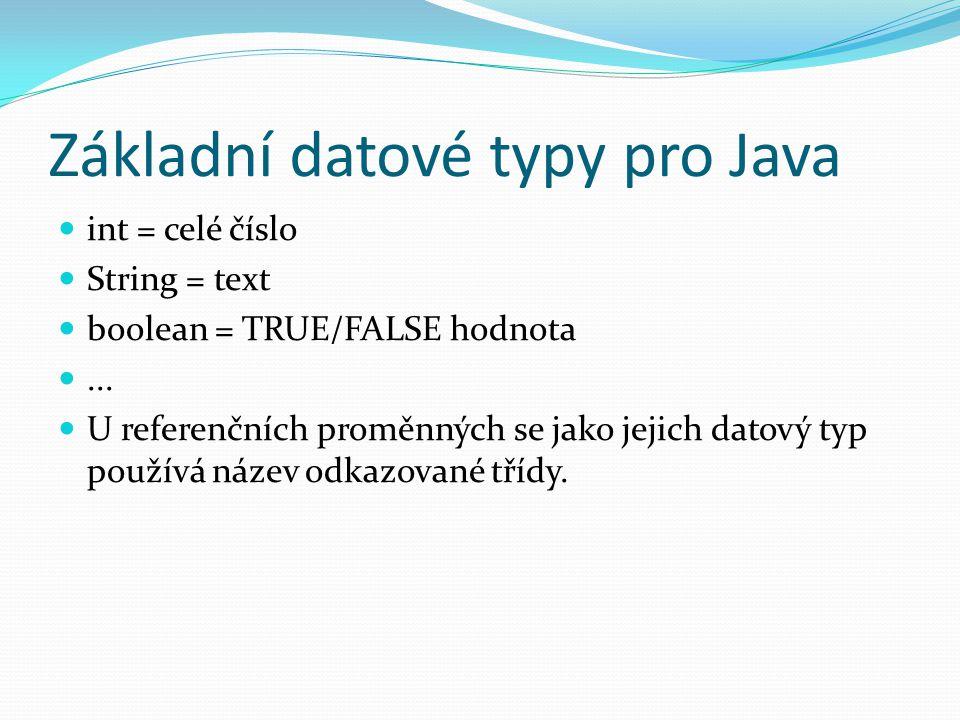 Základní datové typy pro Java