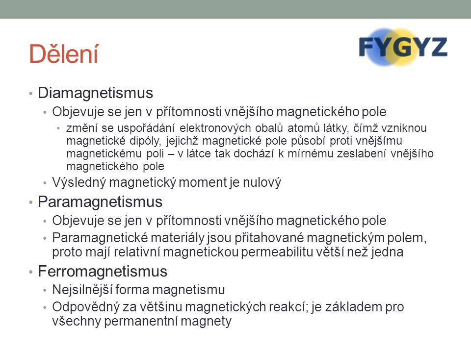 Dělení Diamagnetismus Paramagnetismus Ferromagnetismus