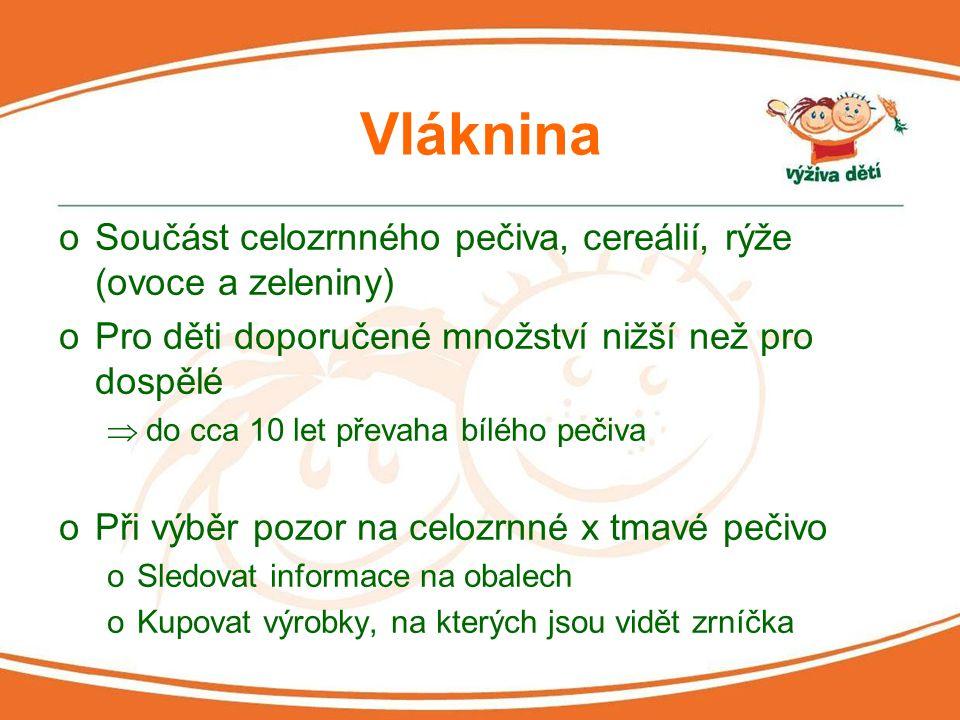 Vláknina Součást celozrnného pečiva, cereálií, rýže (ovoce a zeleniny)