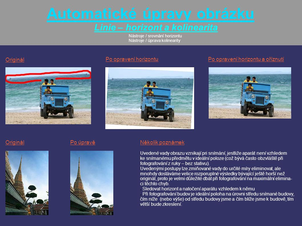 Automatické úpravy obrázku Linie – horizont a kolinearita