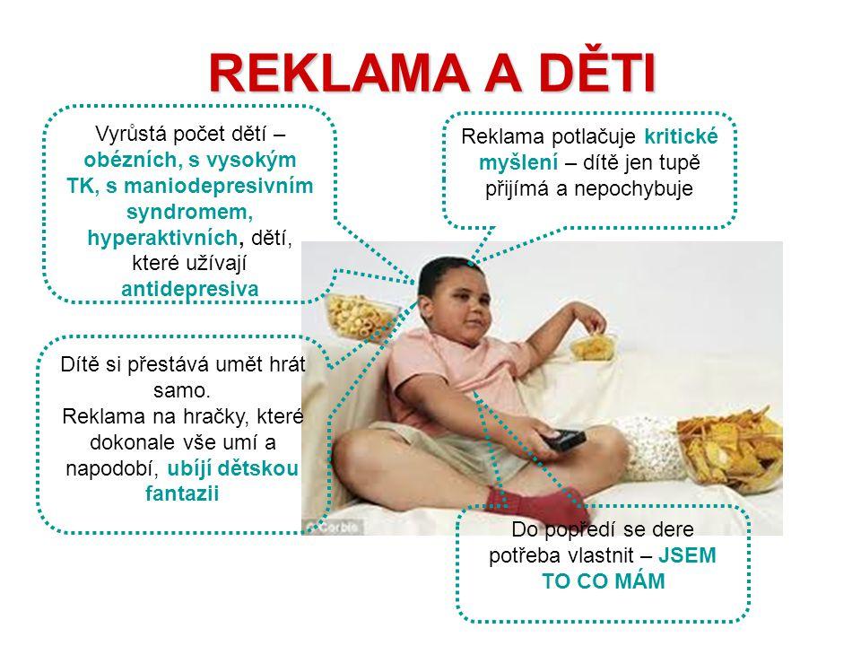 REKLAMA A DĚTI Vyrůstá počet dětí – obézních, s vysokým TK, s maniodepresivním syndromem, hyperaktivních, dětí, které užívají antidepresiva.