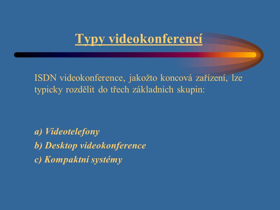 Typy videokonferencí ISDN videokonference, jakožto koncová zařízení, lze typicky rozdělit do třech základních skupin: