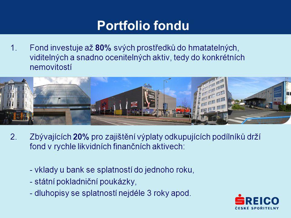 Portfolio fondu Fond investuje až 80% svých prostředků do hmatatelných, viditelných a snadno ocenitelných aktiv, tedy do konkrétních nemovitostí.