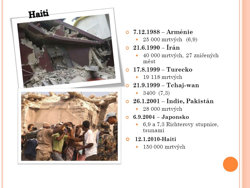 Haiti 12.1.2010-Haiti 7.12.1988 – Arménie 21.6.1990 – Írán