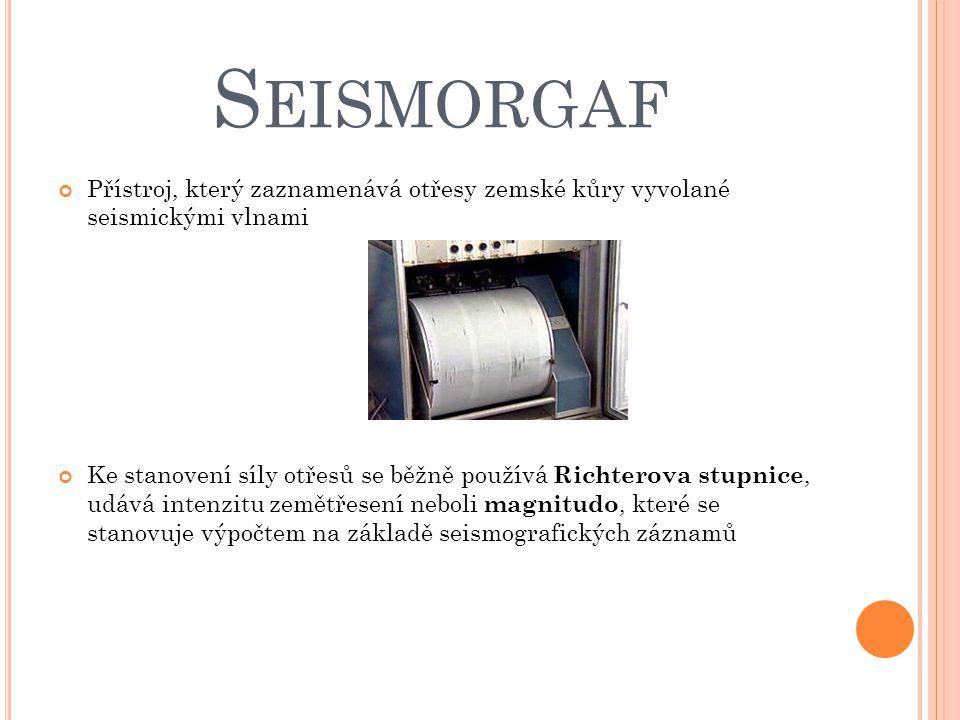 Seismorgaf Přístroj, který zaznamenává otřesy zemské kůry vyvolané seismickými vlnami.